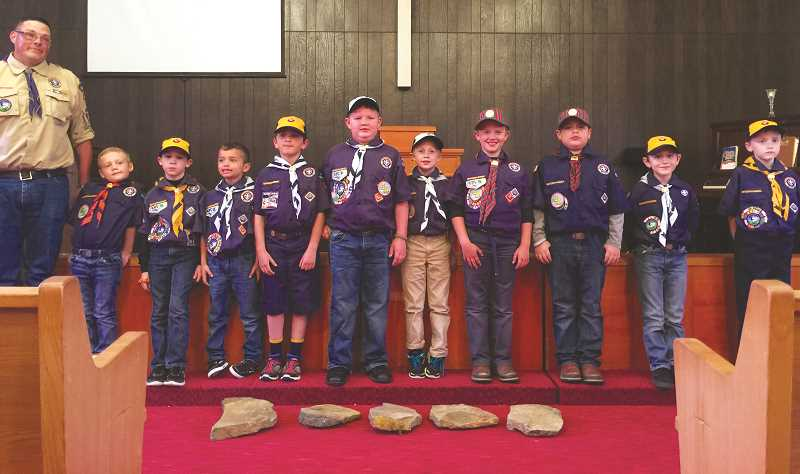 SUSAN WILLIAMS - Photo courtesy of susan williamsMolalla Cub Scouts from Pack 257 line up during their pack meeting, in which the scouts received badges for rank advancement.