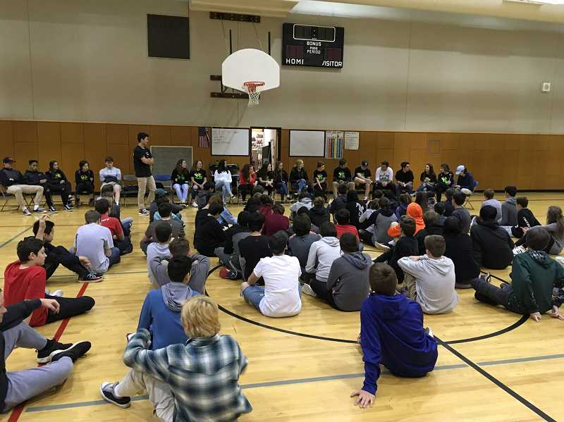 SUBMITTED PHOTO - Members of the West Linn High School Teen Advisory Board talk with students at Rosemont Ridge Middle School earlier this spring.