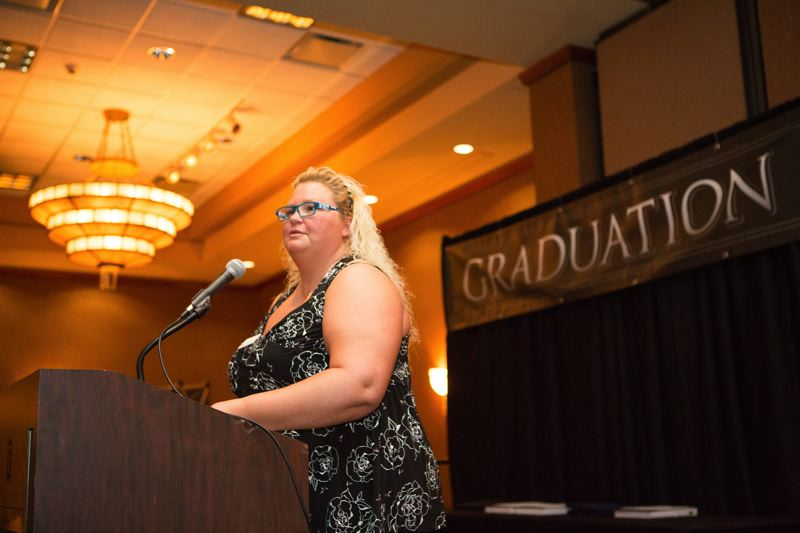 PAMPLIN MEDIA GROUP: ADAM WICKHAM  - Katrina Cloud, NWCC Director of Apprenticeship, introduced the graduates and speakers NWCC President Bob Strader and Brad Avakian, the Commissioner of the Oregon Bureau of Labor and Industries.