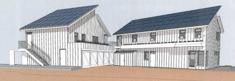 PHOTO COURTESY OF CITY OF LAKE OSWEGO - Concept designs submitted to the City highlight the new rooftop solar panel arrays and stormwater treatment basins that the Lake Oswego Corporation plans to add to its boathouse and marina.