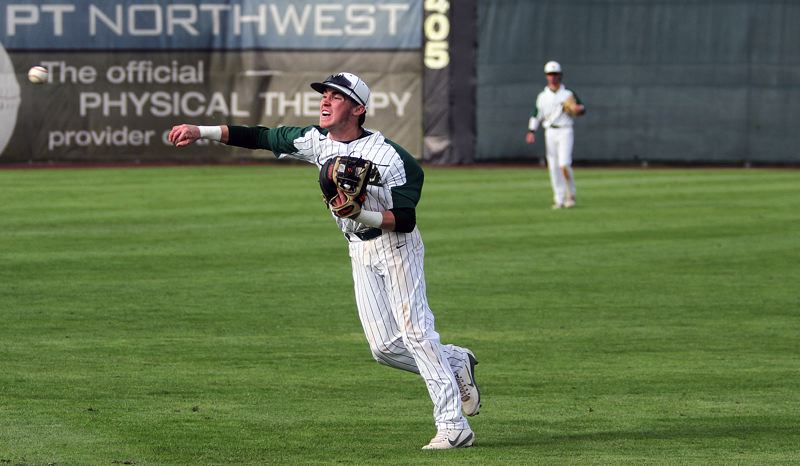 TIDINGS PHOTO: MILES VANCE - West Linn junior second baseman James Marshall makes a throw during his teams 5-1 loss to the Cavaliers in the Class 6A state championship game at Volcanoes Stadium in Keizer on Saturday.