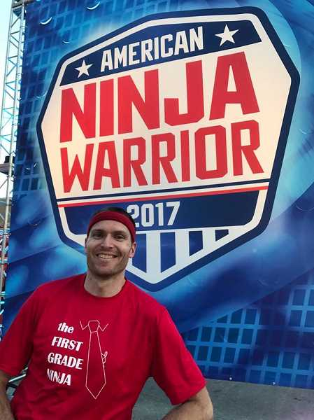 COURTESY PHOTO - Banks elementary teacher Bobby Tabb poses for a photo on the set of the American Ninja Warrior television show.