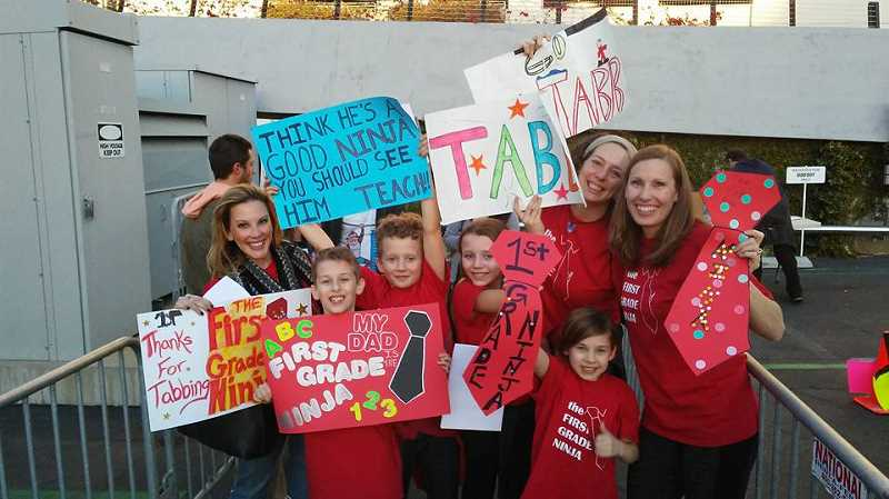 COURTESY PHOTO - Bobby Tabb's friends and family prepare to cheer-on Bobby during his airing of the American Ninja Warrior television show.
