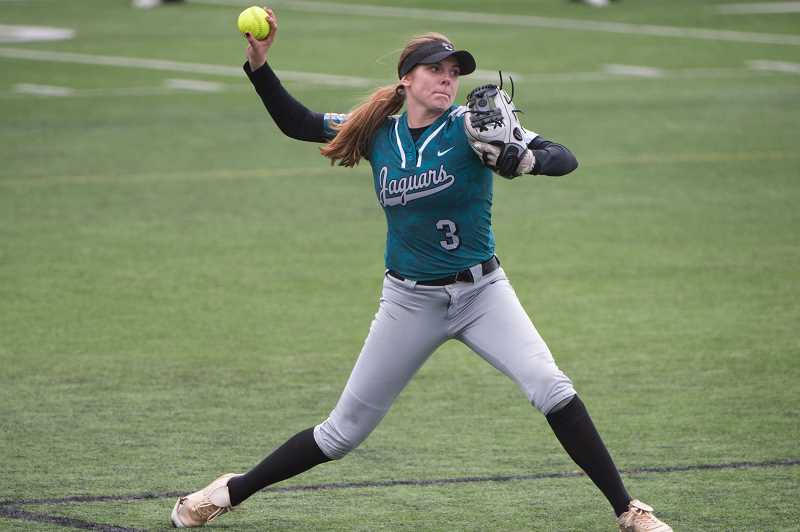 HILLSBORO TRIBUNE PHOTO: CHRISTOPHER OERTELL - Century shortstop Gavyn Shafer throws a ball from her shortstop position in a game earlier this season. Shafer was selected as the Metro League co-Player of the Year.