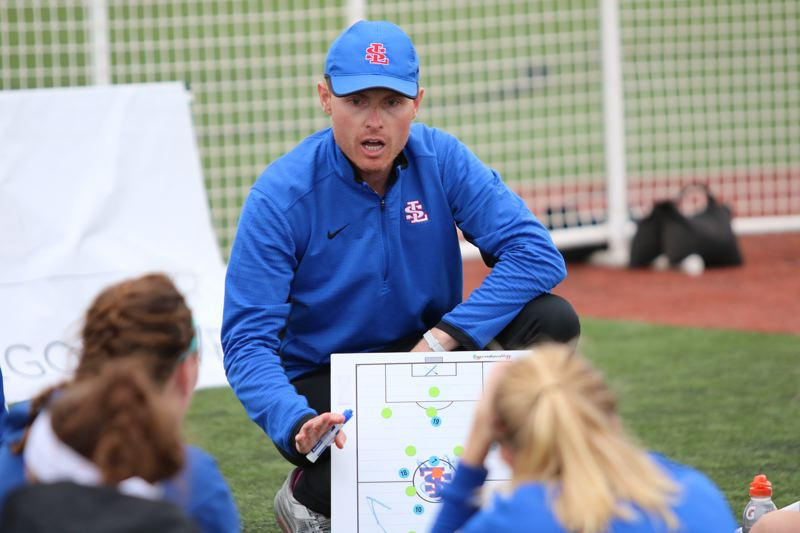 REVIEW/NEWS PHOTO: JIM BESEDA - Adam 'Gaff' Leyland stepped down as girls' soccer coach at La Salle Prep in Milwaukie after leading the Falcons to the 2016 OSAA Class 5A state championship.