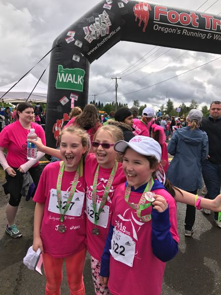 CONTRIBUTED PHOTO - Oregon Trail Academy participants at the Girls on the Run race at Portland International Raceway on Saturday, May 20.