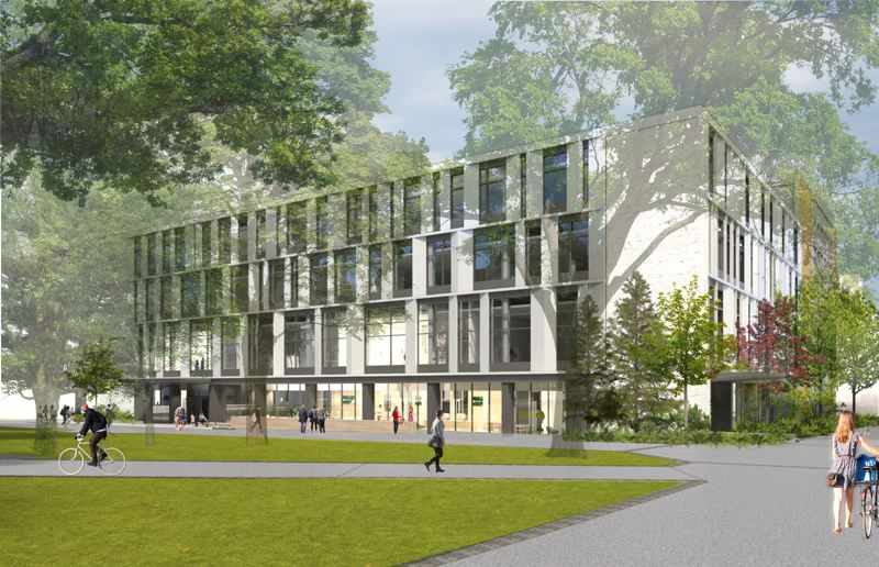COURTESY: HACKER ARCHITECTS  - Neuberger Hall from the Park blocks side will now have an entrance and more windows. Part of philanthropist Jordan Schnitzers goal in donating $5 million for a public art museum is expose students to art who might not otherwise bother. As the most popular building on campus, a large proportion of the colleges 27,000 students pass though the building at some time in their career.