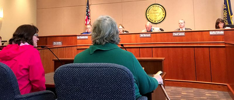 PAMPLIN MEDIA GROUP: PETER WONG - Clackamas County commissioners hear from JoAnne Forsyth of West Linn, left, and Kate Rohde of Oak Grove, at a meeting Thursday, June 8.?