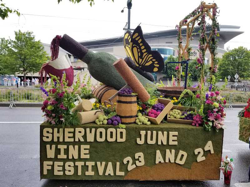 COURTESY OF LEAH BURGESS - Sherwood's mini float took home the 'Most Outstanding Use of Creativity' prize this year at the annual Grand Floral Parade mini-float competition.