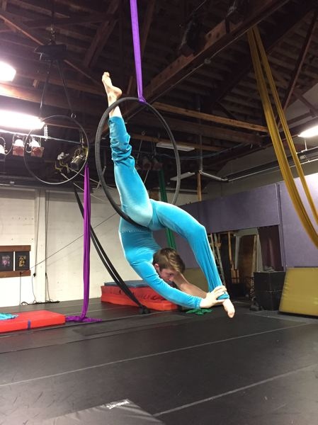 SUBMITTED PHOTO - Eva Busch practices an aerial routine, similar to the one she will perform at the national Distinguished Young Women competition held June 29, 30 and July 1 in Alabama.