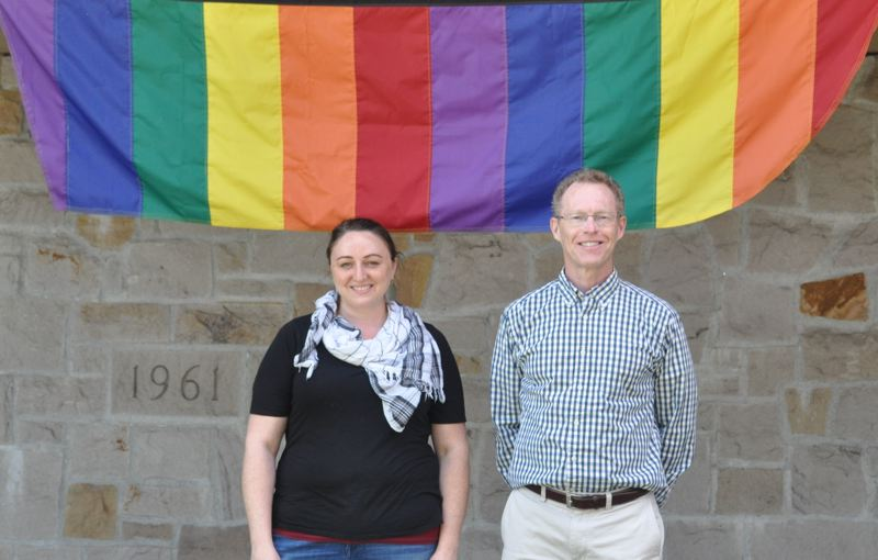 COURTESY BLAIR STENVICK - Neomie Lemke and the Rev. David David Randall-Bodman outside Bethel Congregational United Church of Christ, an LGBTQ-friendly church in Beaverton.