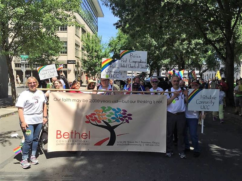 COURTESY OF BETHEL CONGREGATIONAL UNITED CHURCH OF CHRIST - Members of Bethel Congregational United Church of Christ marched in last year's Pride parade and wil do so again this year.