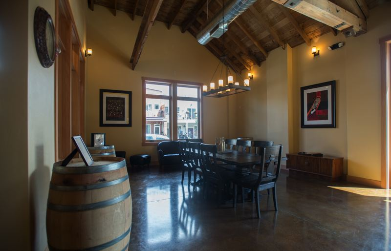 OUTLOOK PHOTO: JOSH KULLA - The Calcagno Cellars wine tasting room is now open to the public in downtown Troutdale, where it occupies a former garage that has been now reminiscent of a Mediterranean villa.