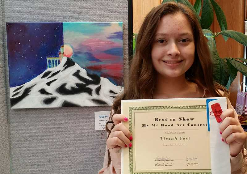 SUBMITTED PHOTO - Lake Oswego Junior High School eighth-grader Tirzah Vest's work won Best in Show during the My Mount Hood art contest.