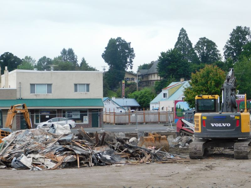 ESTACADA NEWS PHOTO: EMILY LINDSTRAND - The walls of the building that once housed Estacadas Safari Club are no more as the building is demolished to make way for a new Dollar General store.
