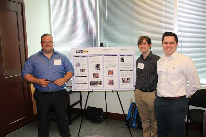 SPOKESMAN PHOTOS: ANDREW KILSTROM - From left, Austin Hinman, Jacob Niska and Jesse Nielsen present their project. The trio devised a product that streamlines the process of finding treatment options for cancerous tumors.