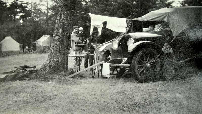 PHOTO COURTESY WILSONVILLE-BOONES FERRY HISTORICAL SOCIETY. - Aden family camping, circa 1936. Aden family owned the general store in Wilsonville.