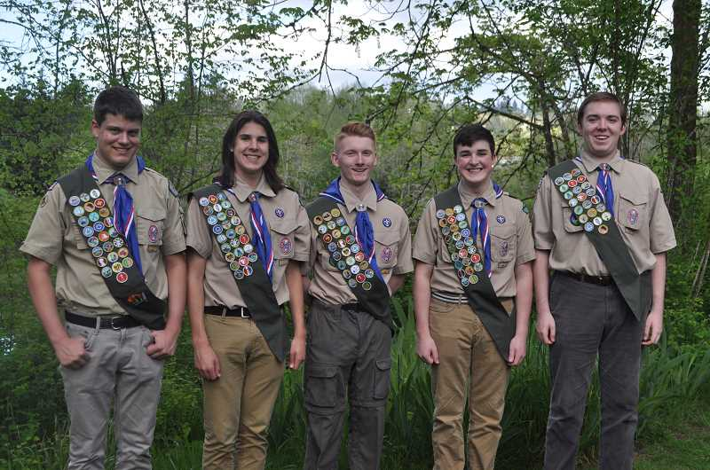 SUBMITTED PHOTO - Five members of local Boy Scouts Troop 396 will earn Eagle Status Sunday, June 18. From left, Gregory Gandy, Joseph Dierckes, Kevin Reed, Charles Dierckes and Evan Kohne.