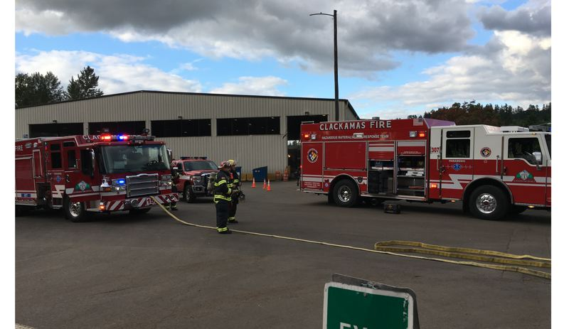 PHOTO COURTESY: CLACKAMAS FIRE - Clackamas Fire's Hazardous Materials Response Team contains the muriatic acid at the Metro South Transfer Station in Oregon City.