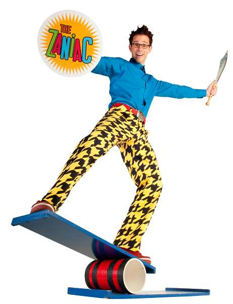 SUBMITTED PHOTO  -  Juggler and two-time Guinness World Record holder, Alex Zerbe dances, jokes, and juggles while sharing his mastery of physical comedy June 22 at the Wilsonville Library.