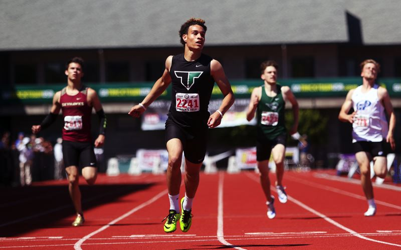 DAN BROOD - Tigard junior Braden Lenzy, shown here winning the 400-meter dash at the Class 6A state track and field championships, is a prep track athlete of the year finalist.