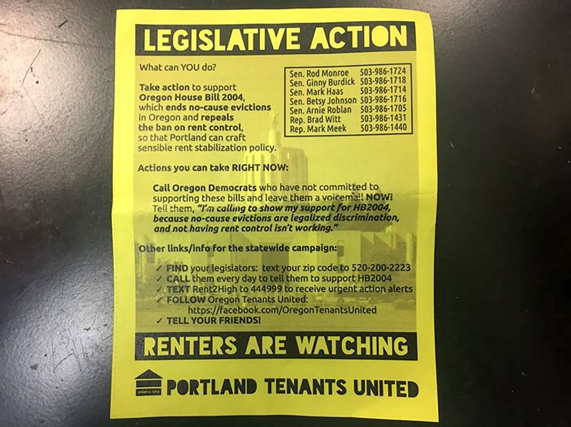 OUTLOOK PHOTO: PARIS ACHEN - A flyer that was distributed at the Capitol by Portland Tenants United.