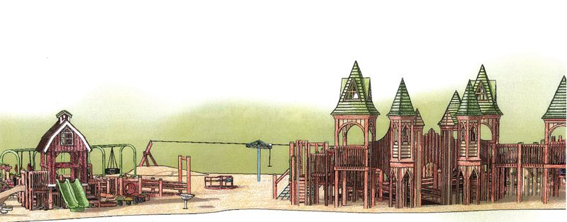 COURTESY RENDERING - This playground design submitted by Play By Design shows a plastic lumber structure that would cost $448,000.