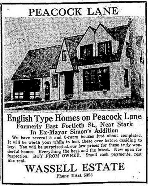 COURTESY PHOTO: ERNESTINA FUENMAYOR - An advertisement highlighted the new Peacock Lane amenities during its construction in the early 1920s.