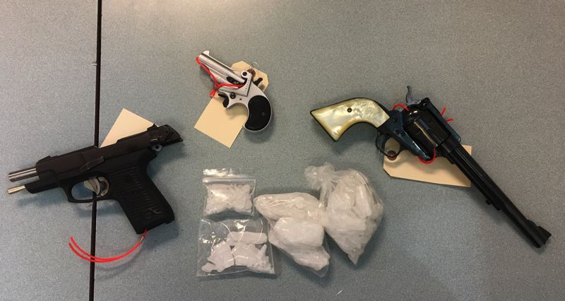 WASHINGTON COUNTY SHERIFF'S OFFICE - Guns and meth were confiscated during several arrests Thursday in Cornelius.