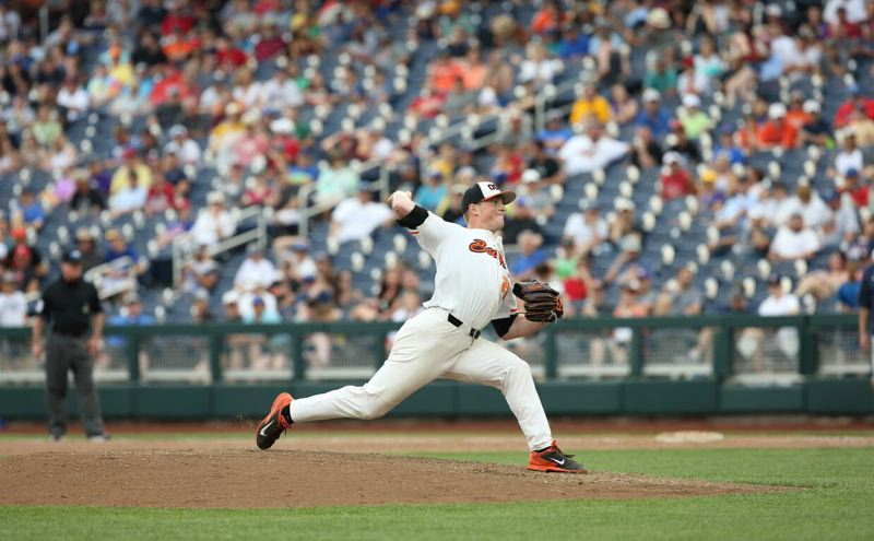 COURTESY: SCOTT CASSIDY - In a closer role, Drew Rasmussen of Oregon State finishes off the Titans on Saturday in the College World Series at Omaha, Nebraska.