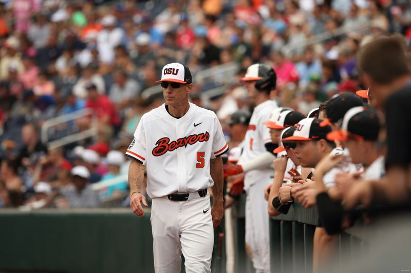 COURTESY: SCOTT CASSIDY - Oregon State coach Pat Casey on patrol outside the dugout.