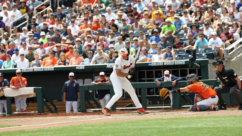 COURTESY: SCOTT CASSIDY - Jack Anderson of Oregon State is hit by a pitch.