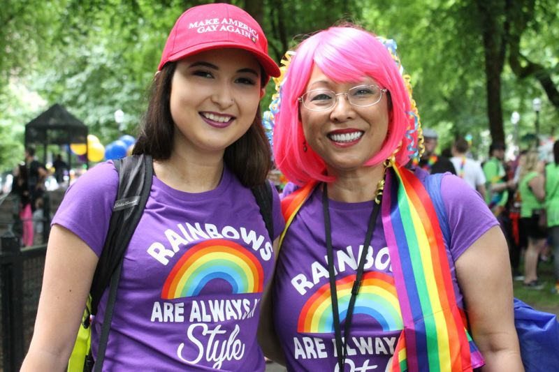 TRIBUNE PHOTO: LYNDSEY HEWITT - Multnomah County Commissioner Lori Stegmann attended the Portland Pride festival with her daughter Brynn Lerma.