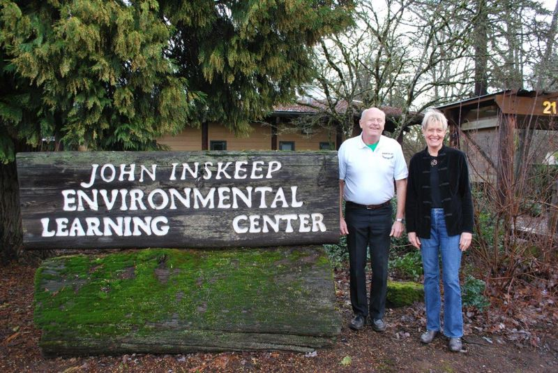 SUBMITTED PHOTO - Sha Spady and Jerry Herrmann pose outside of the John Inskeep Environmental Learning Center at Clackamas Community College.