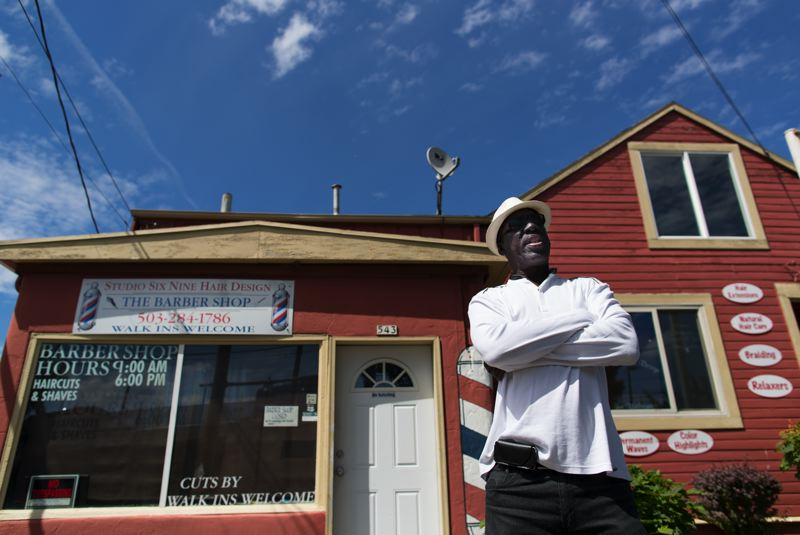 PORTLAND TRIBUNE: JAMIE VALDEZ - Rickey Brame, outside his family-owneed building, says he doesn't want to see the same thing happen to Killingsworth Street that occurred on Alberta Street — a boom that wound up displacing black businesses and residents.