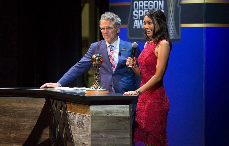PAMPLIN MEDIA GROUP PHOTO: ADAM WICKHAM - Lake Oswego's Tya Seth is honored as winner of the Play It Forward award during the Oregon Sports Awards on the Nike World Headquarters campus on Sunday.