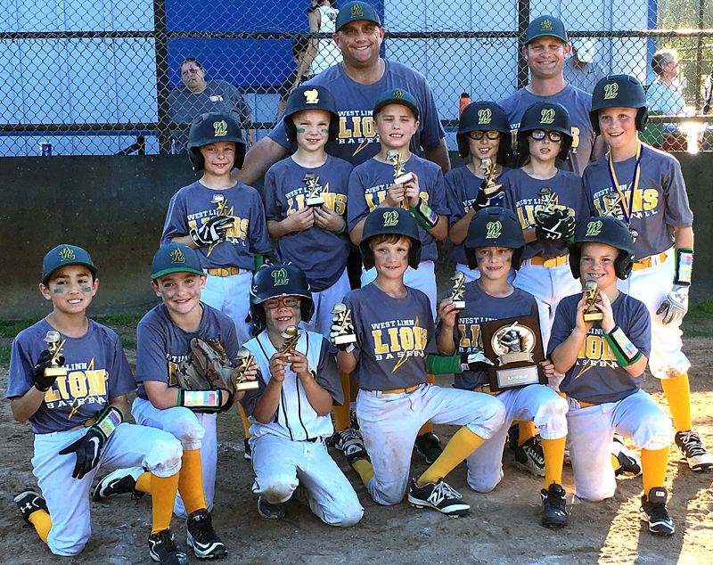 SUBMITTED PHOTO - The West Linn 9U all-star baseball team's players show off their trophies and smiles after finishing second in the Kelso River Bash in Saturday and Sunday.