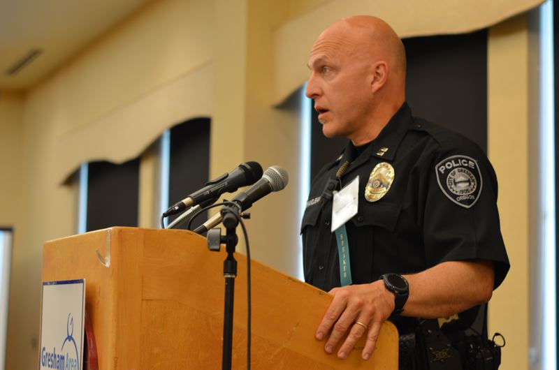 OUTLOOK PHOTO: CLARA HOWELL - Gresham Police Capt. Claudio Grandjean discusses community concerns surrounding marijuana use.