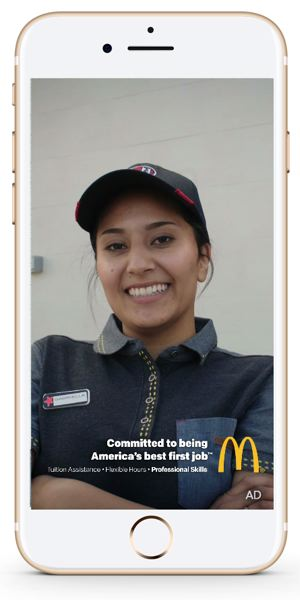 COURTESY: MCDONALD'S - Snapchater users 16-24 are being targeted by a 10 second video abou the joys of working at McDonald's.