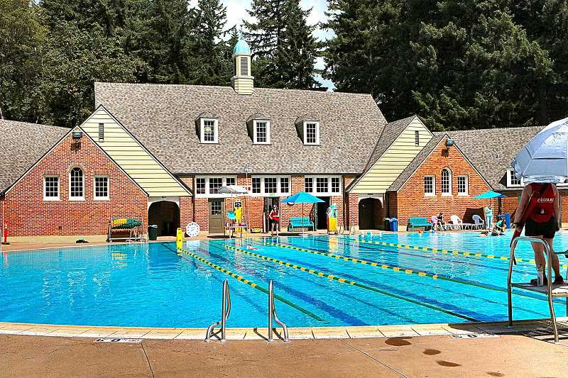 DAVID F. ASHTON - The newly-renovated exterior of the pool house at the historic Sellwood Pool makes it an even more inviting summer recreation destination.