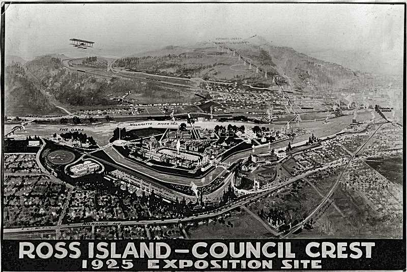 COURTESY OF SMILE HISTORY COMMITTEE - Image of the proposed development of Ross Island, suggested as the site for the 1925 Atlantic-Pacific Highway Electrical Exposition, prepared by Kenneth Brown in 1921.