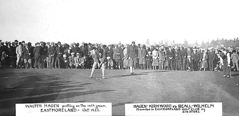 COURTESY DICK ESTY COLLECTION - Walter Hagen playing the Eastmoreland Golf Course in 1922. This framed photo also is on display at the clubhouse today.