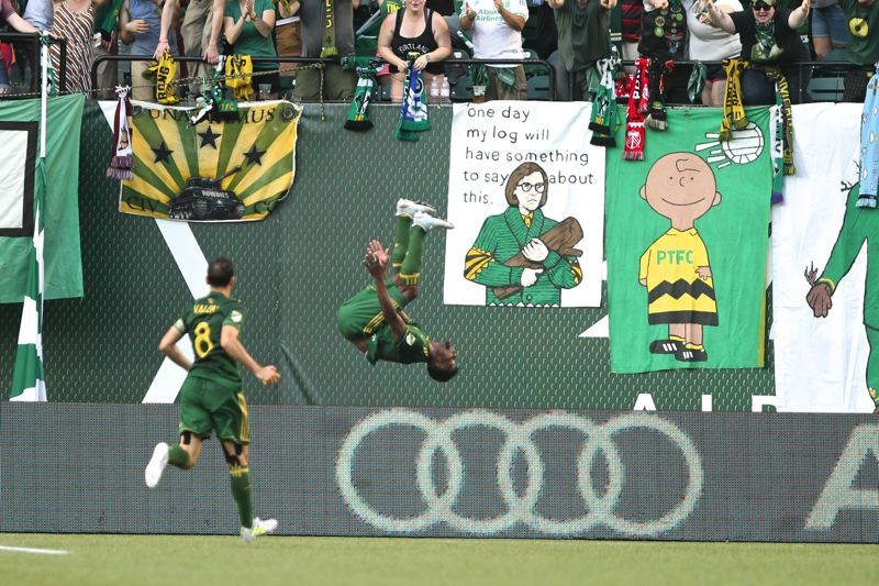 TRIBUNE PHOTO: JAIME VALDEZ - Dairon Asprilla of the Portland Timbers flips after scoring Sunday for a 2-1 lead in an eventual 2-2 draw with the visiting Seattle Sounders.