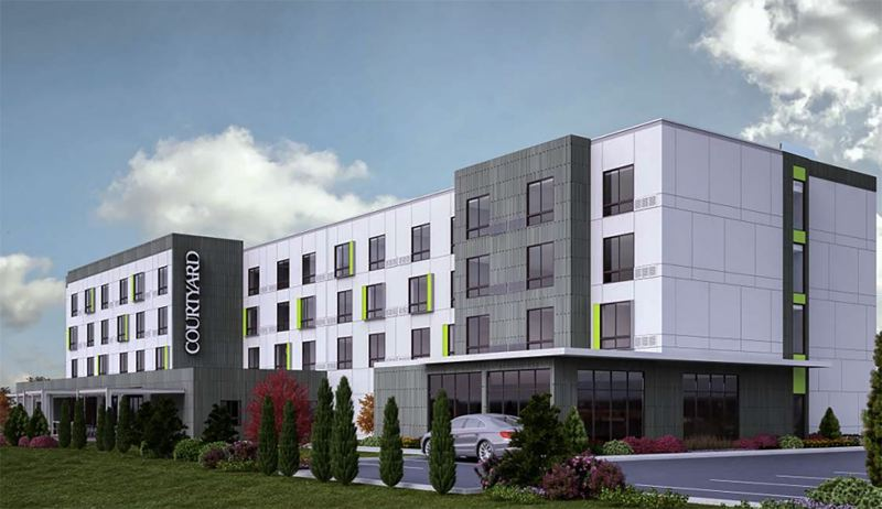 COURTESY RENDERING - The 91-guestroom hotel will offer about 92 parking spots, as well as bike parking.