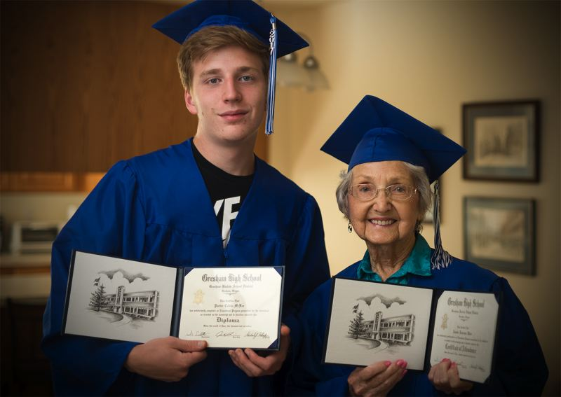 OUTLOOK PHOTO: JOSH KULLA - Grandson Parker McKee surprised his grandmother, Nita Parker, by helping her receive an honorary Diploma from Gresham High School.