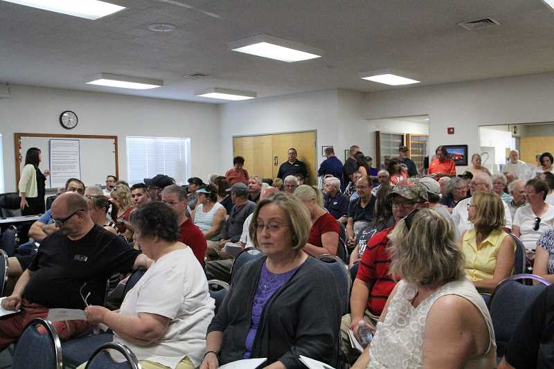 LINDSAY KEEFER - Community members were turned away as the Hubbard Fire Station reached capacity for a special meeting Thursday regarding police services.