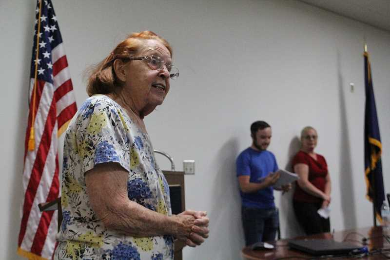 LINDSAY KEEFER - Longtime resident Beverlee Koutny was one of more than a dozen citizens to speak during the public forum, urging for the city to keep its police department.