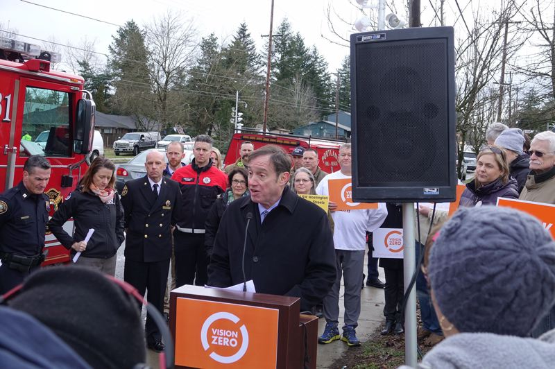 COURTESY PBOT - Commissioner Dan Saltzman spoke at a news conference with POT employees and safety advocates when speed cameras were installed on Southeast Division Street on March 6.