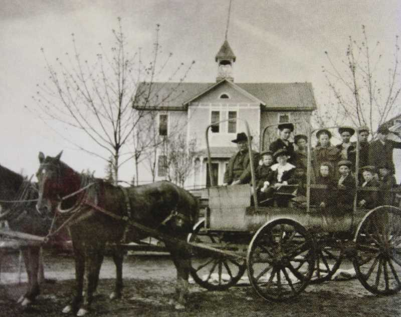 PHOTO COURTESY OF CLACKAMAS COUNTY HISTORICAL SOCIETY - Sunset was the first school in Oregon to offer public transportation — a horse-drawn carriage — all the way back in 1904.