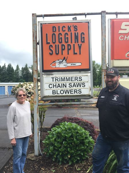 NEW PHOTO: EMILY LINDSTRAND - Linda Bennett and Matt Workman are two of the forces behind Dicks Logging in Estacada. The store, which sells equipment for logging, yard work and construction, has been a staple in the community for more than 50 years.